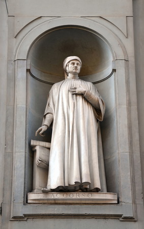 critic: Mariangelo Accorso monument in Galleria degli Uffizi in Florence, Italy. Не was an Italian writer and critic