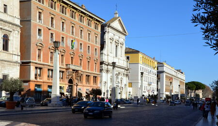 enclave: The road to the Saint Peters Square in Vatican City, Vatican. Saint Peters Square is among most popular pilgrimage sites for Roman Catholics