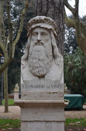 cartographer: Monument to Leonardo da Vinci, Italian painter, sculptor, architect, musician, mathematician, engineer, inventor, anatomist, geologist, cartographer, botanist, and writer. Rome, Italy