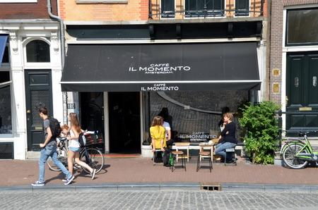 il: Il Momento.  Small Italian cafe in Amsterdam, The Netherlands Editorial