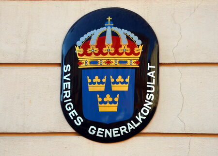 consulate: Consulate of Sweden in St. Petersburg, Russia. Coat of arms of Sweden