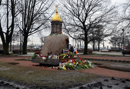 opposition: Flowers in memory of Boris Nemtsov at Solovetsky stone, monument to the victims of GULAG. Opposition politician Boris Nemtsov was shot on Feb 27 2015 in Moscow