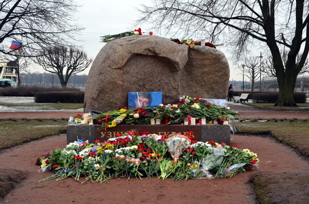 boris: Flowers in memory of Boris Nemtsov at Solovetsky stone, monument to the victims of GULAG. Opposition politician Boris Nemtsov was shot on Feb 27 2015 in Moscow