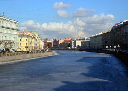 st  petersburg: Fontanka River embankment, St. Petersburg Stock Photo