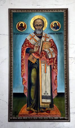 st nicholas cathedral: Saint Nicholas. Fresco in Armenian Church of St Catherine in Saint-Petersburg, Russia Editorial