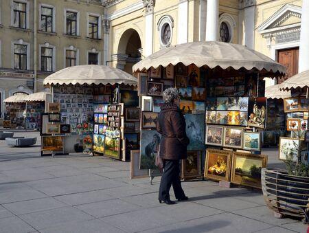 nevsky: Street artists sell paintings on Nevsky Prospekt St. Petersburg
