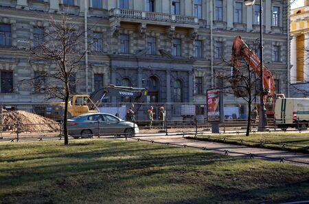 roadworks: Roadworks on the Admiralty Embankment in St. Petersburg