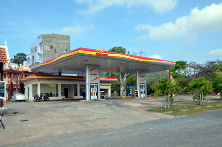 kampuchea: Gas station in Kep town, Cambodia