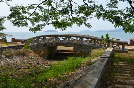 kampuchea: Wooden bridge on the beach in the town of Kep Cambodia