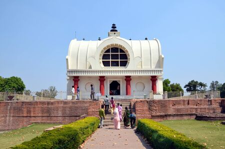 gautama: Parinirvana temple Kushinagar India. It is important Buddhist pilgrimage site where Buddhists believe Gautama Buddha attained Parinirvana after his death Editorial