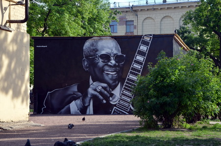 bb: Legendary American bluesman BB King. Graffiti in St. Petersburg painted immediately after his death