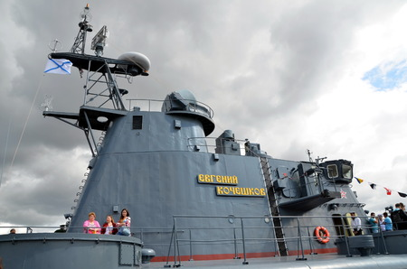 cushioned: ST-PETERSBURG, RUSSIA - JULY 5, 2015 - Saint-Petersburg, International Maritime Defence Show 2015 IMDS-2015. The Zubr-class air-cushioned landing craft Evgeny Kocheshkov