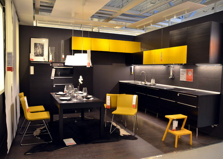 home sale: Kitchen interior in the IKEA store in St. Petersburg Editorial