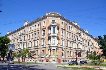 corner of house: Architecture of St. Petersburg. Corner house on Vasilyevsky Island Editorial