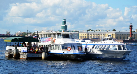 speedboats: Speedboats on the Neva river from St-Petersburg to Peterhof