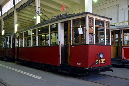 electric tram: Vintage tram in the Museum of city electric transport, St. Petersburg Editorial