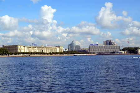 stalin empire style: View on Petrovskaya Quay in St-Petersburg, Russia Editorial