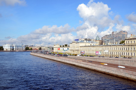 confluence: The confluence of the Bolshaya Nevka River and Neva in St. Petersburg. View of the Nakhimov Naval School and the Military Medical Academy. Panoramic view