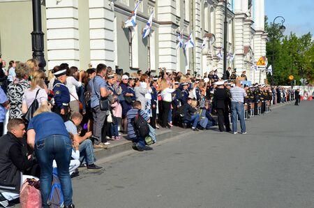 solemn: 1 September 2015. Parents of young students on the solemn ruler. Nakhimov Naval School, St. Petersburg Editorial