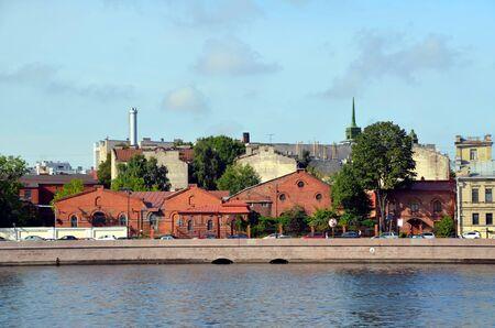 barracks: Industrial architecture of St. Petersburg, Russia. Old barracks on Petrogradskaya embankment
