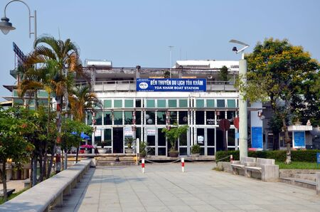 hue: Cityscape of Hue, Vietnam. Boat station Toa Kham Editorial