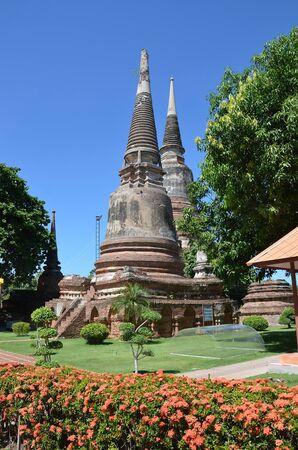 stupas: Ancient Buddhist stupas in Ayutthaya, the former capital of Thailand