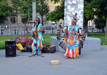 busker: Peruvian buskers on the street of St-Petersburg, Russia Editorial