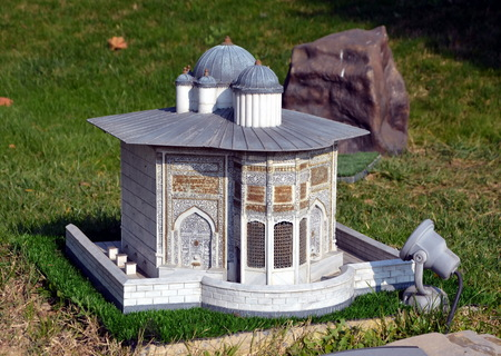 mehmed: Scale model of tomb of Saliha Sultan at Miniaturk park in Istanbul, the largest miniature park in the world. The park contains 105 buildings Editorial