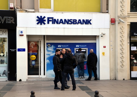 large doors: Finansbank in Istanbul, Turkey. Finansbank is a Turkish bank with headquarters in Levent, Istanbul Editorial