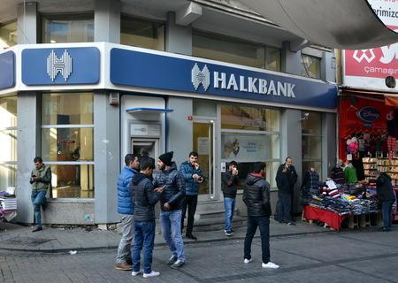 large doors: HalkBank in Istanbul, Turkey. Halkbank is a Turkish state-owned bank