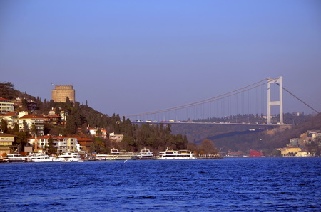 rumeli: Istanbul, Turkey. View of the Bosphorus in the early evening Stock Photo