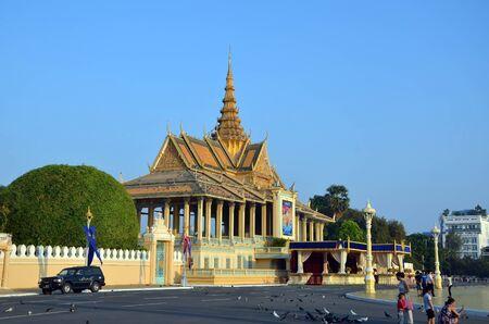 phnom penh: PHNOM PENH, CAMBODIA - APRIL 14, 2016 - Cambodia, Phnom Penh, The Royal Palace in Phnom Penh