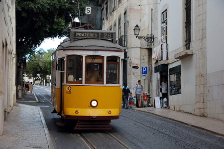 28: Famous  tram number 28  in Lisbon, Portugal Editorial