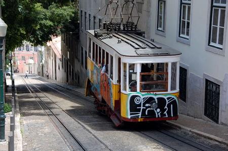 gloria: LISBON, PORTUGAL - JULY 6, 2011 - Famous  Gloria funicular   in Lisbon, Portugal