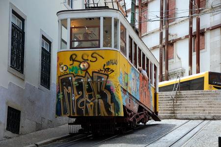 gloria: Famous  Gloria funicular   in Lisbon, Portugal