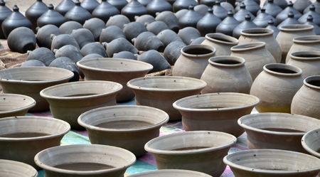 ollas de barro: Rows of traditional clay pots in Bhaktapur Nepal