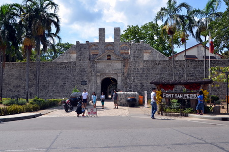 Tourists at Fort San Pedro in Cebu, Philippines
