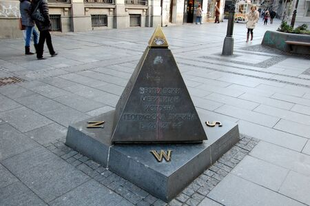 longitude: East geographical longitude of Belgrade, Serbia. Urban sculpture