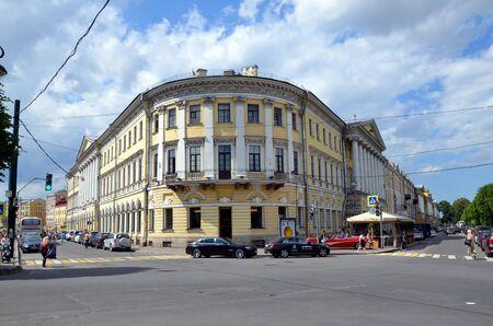 corner of house: Saint-Petersburg architecture. Corner house on Moyka river  Embankment Editorial