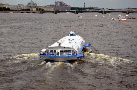 speedboat: Speedboat on the Neva river  in Saint-Petersburg, Russia