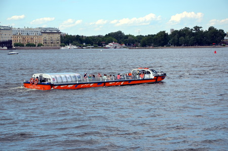 neva: Excursion boat on the Neva river in St. Petersburg, Russia