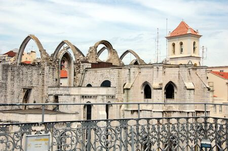 roofless: The ruins of the Carmo Church destroyed in the earthquake 1755 Lisbon, Portugal