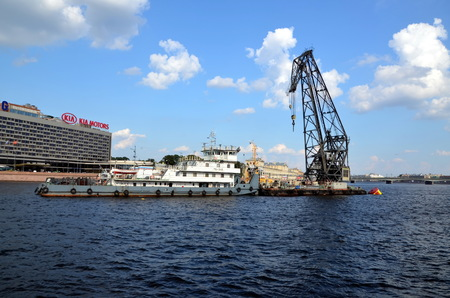 cruiser: Dredging works on-site parking Aurora cruiser, St. Petersburg Editorial