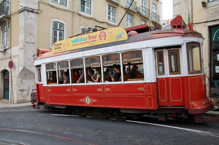 tourists stop: Sightseeing  tram in Lisbon, Portugal