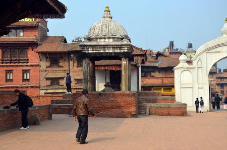 jainism: Ancient hindu temples on Durbar square in Bhaktapur, Nepal Editorial