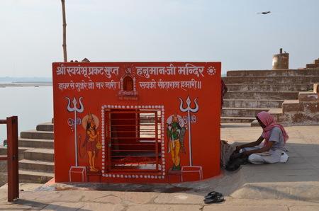 varanasi: Small Shiva temple  on Embankments of the Ganges, Varanasi, India Editorial