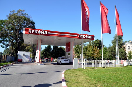 fueling pump: Lukoil gas station in St-Petersburg, Russia. Lukoil is one of the largest russian oil companies