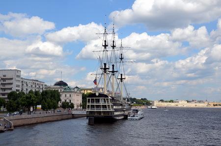 Sailboat Grace on the Neva river, St. Petersburg