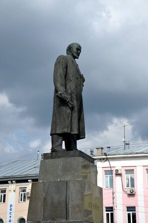 Monument to Lenin in Vologda, Russia. The monument was built in 1958