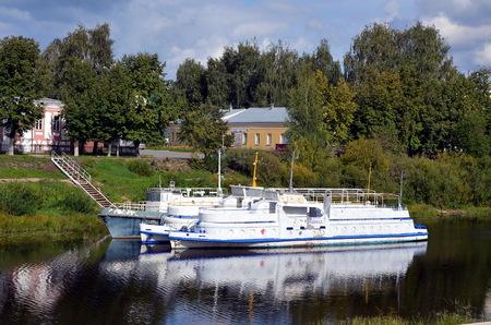 excursion: Excursion boats on Vologda river in Vologda city, Russia